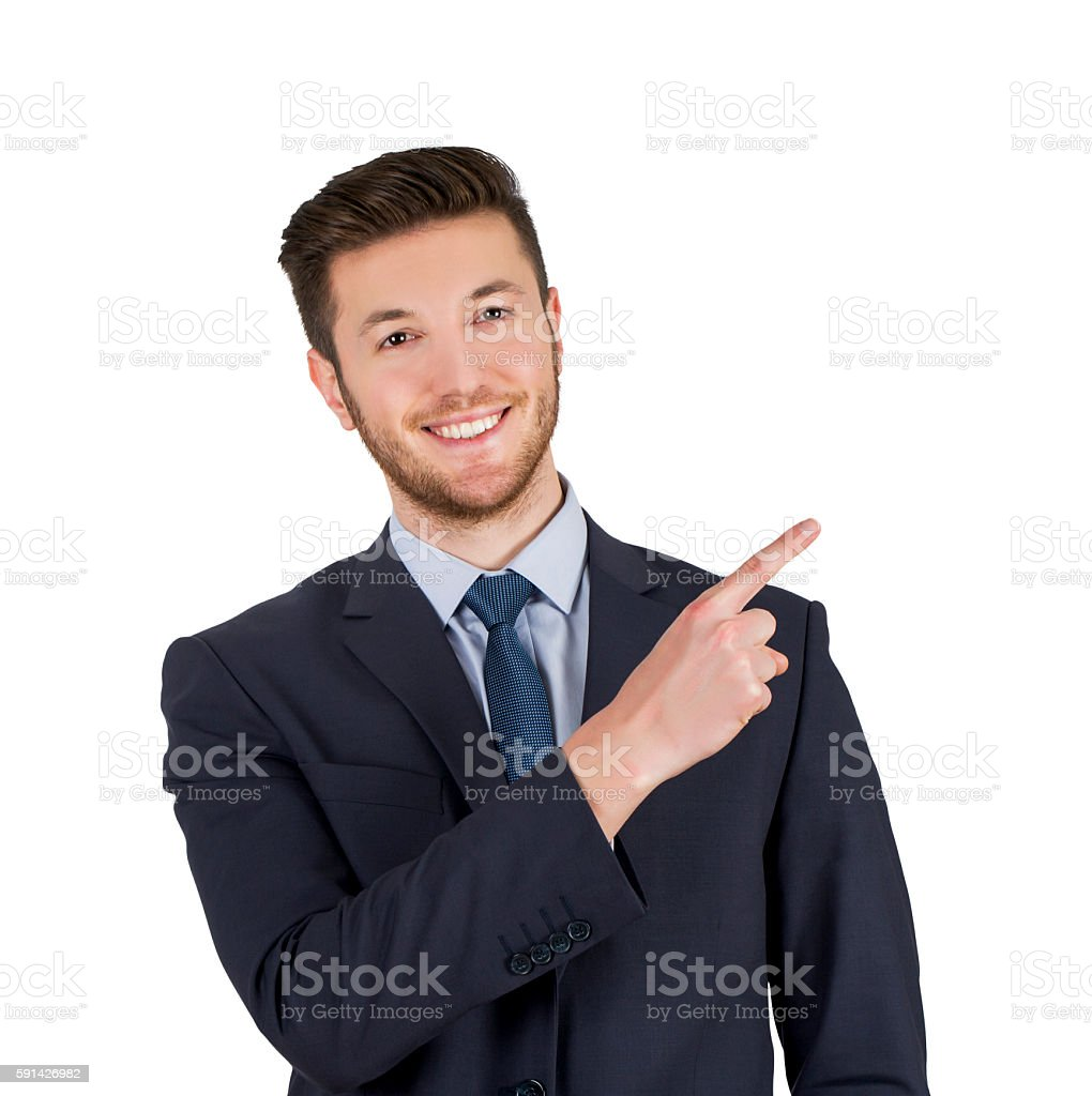 Man pointing showing copy space isolated on white background stock photo