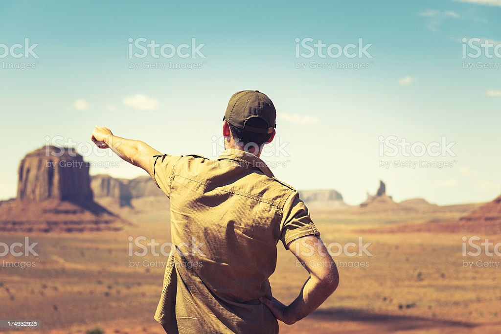 Man pointing the landscape on Tribal National Park royalty-free stock photo