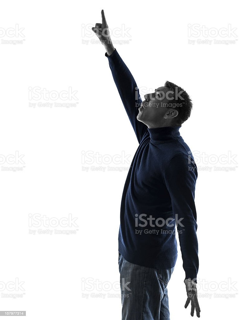 man pointing up surprised silhouette full length royalty-free stock photo