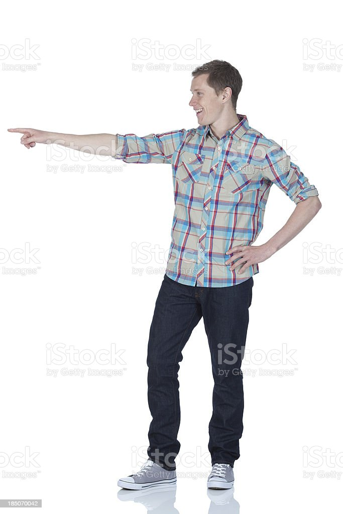 Man pointing with finger royalty-free stock photo