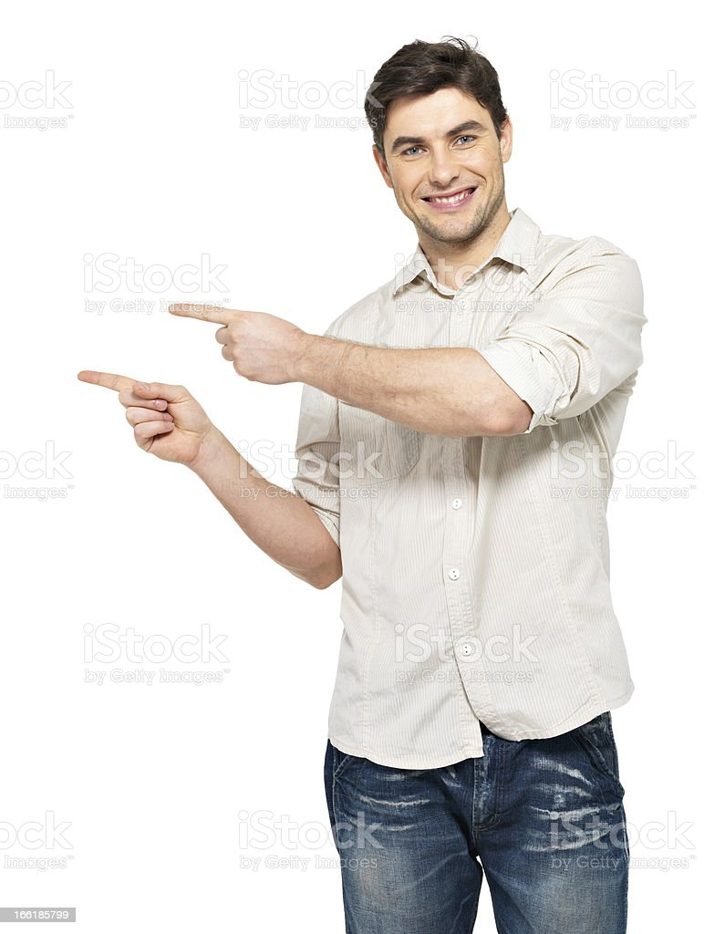 man points with fingers in the right side royalty-free stock photo