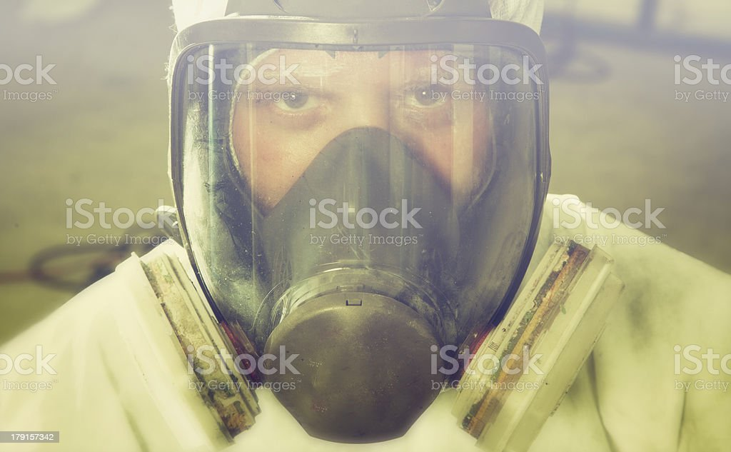 man portrait in respirator stock photo