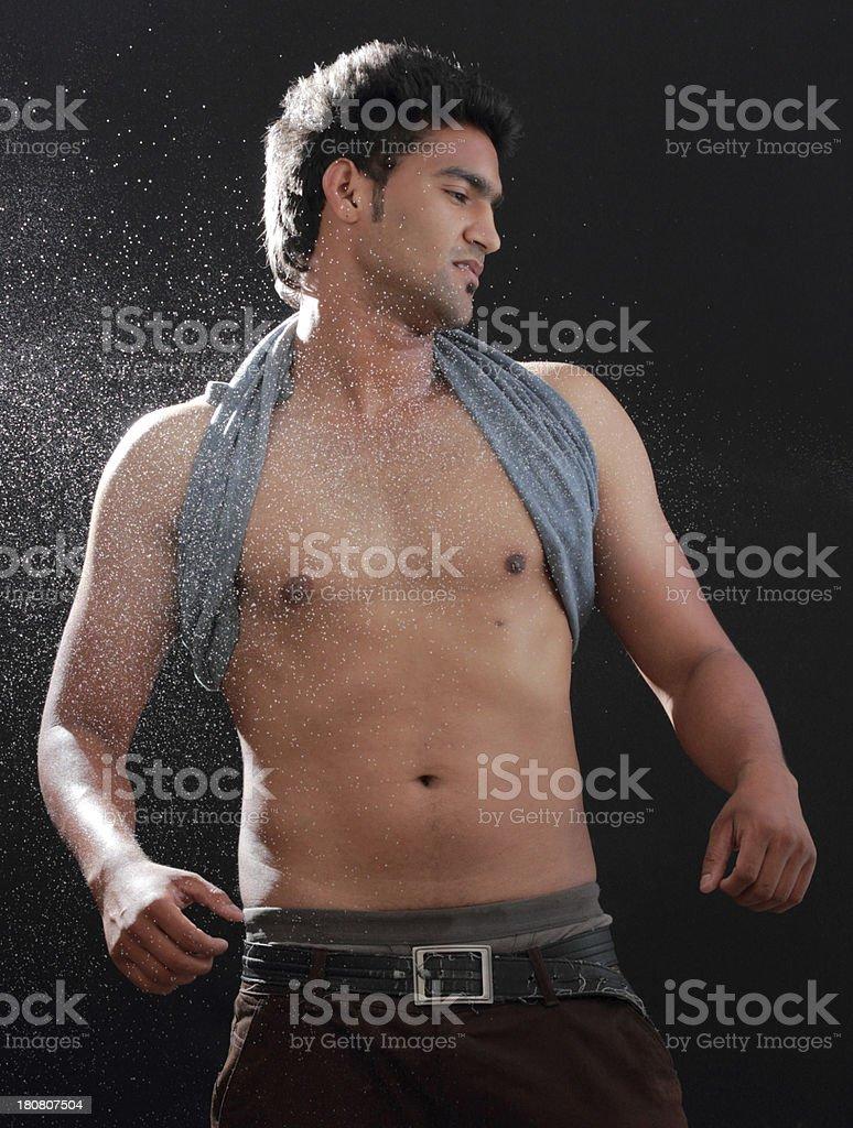 Man portrait in spray royalty-free stock photo