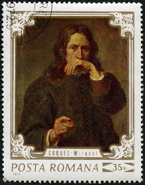 man  portrait stamp stock photo