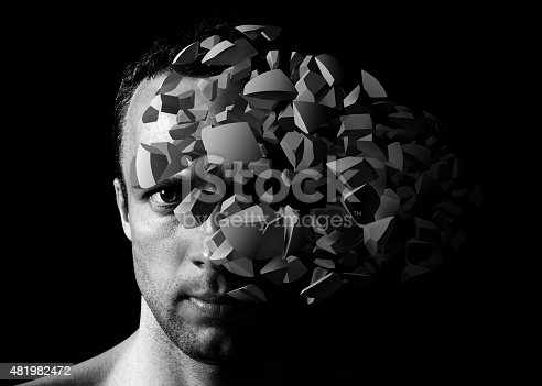 istock Man portrait with 3d explosion fragments 481982472