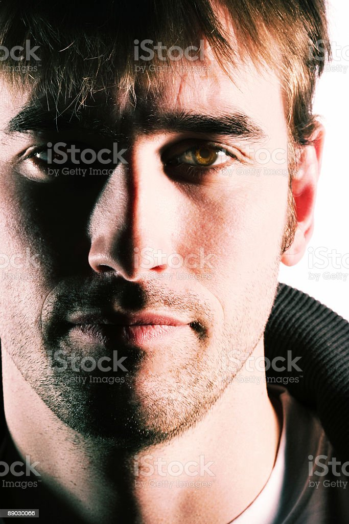 man portrait with hard shadows royalty-free stock photo