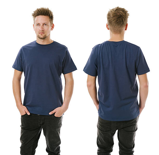 Man posing with blank navy blue shirt Photo of a man wearing blank navy blue t-shirt, front and back. Ready for your design or artwork. dark blue stock pictures, royalty-free photos & images