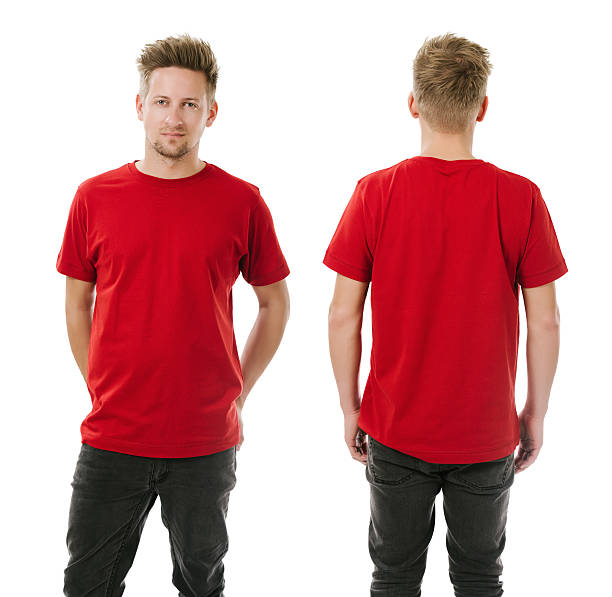 Man posing with blank red shirt Photo of a man wearing blank red t-shirt, front and back. Ready for your design or artwork. red shirt stock pictures, royalty-free photos & images