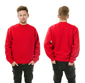 Man posing with blank red sweatshirt
