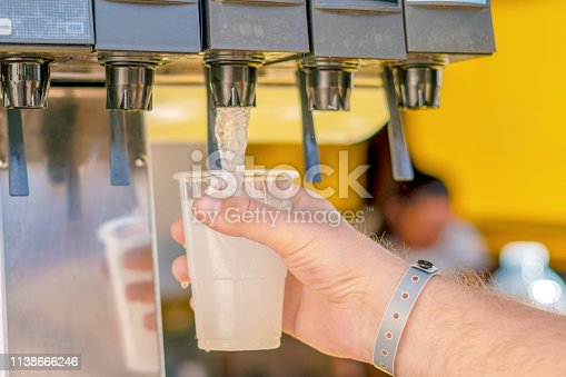 istock Man pouring fresh drink in self service bar 1138666246