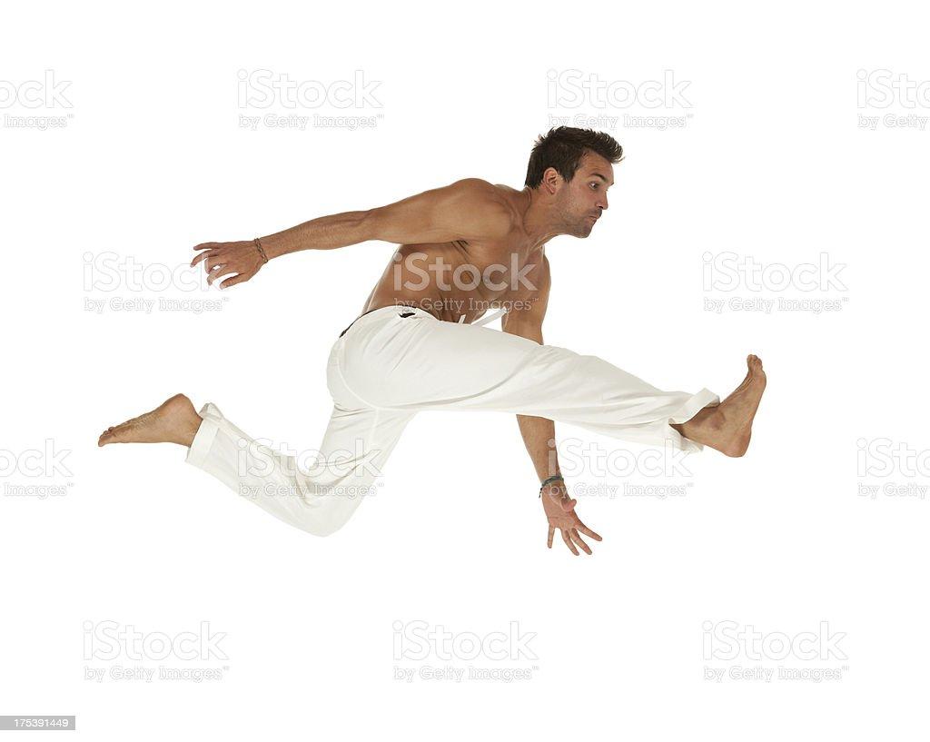 Man practicing capoeira royalty-free stock photo