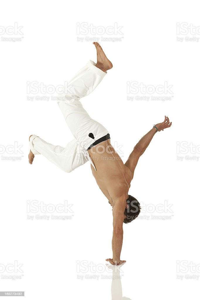 Man practicing capoeira stock photo