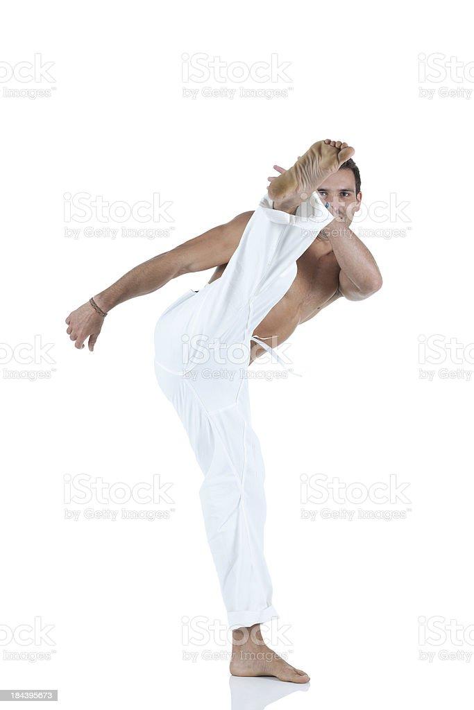 Man practicing karate royalty-free stock photo