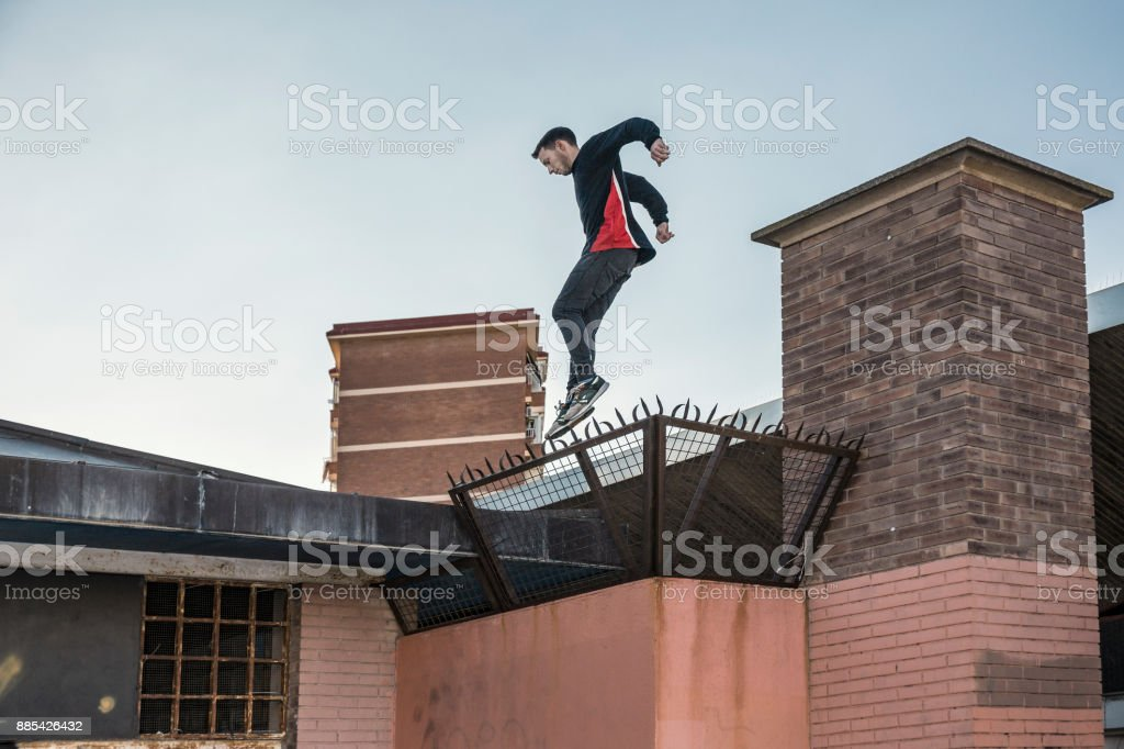 Man practicing parkour in the city