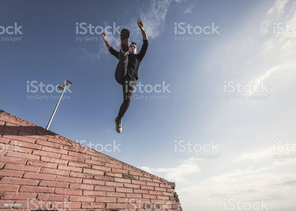Man practicing parkour