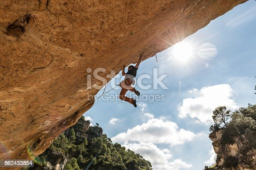 Man practicing rock climbing in Siurana Tarragona Catalonia