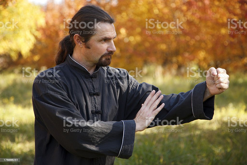 Man practicing Tai Chi stock photo