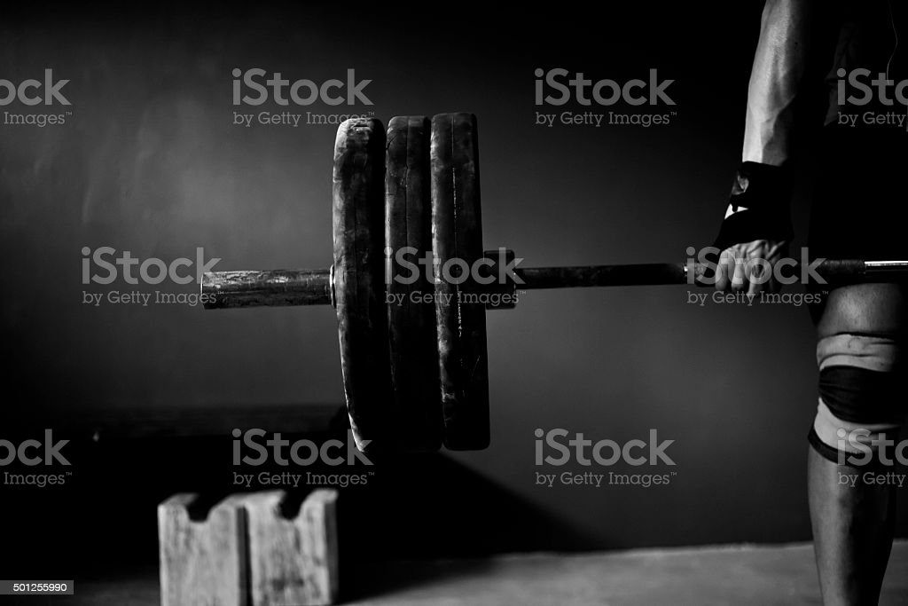 Man practising weightlifting VIII stock photo