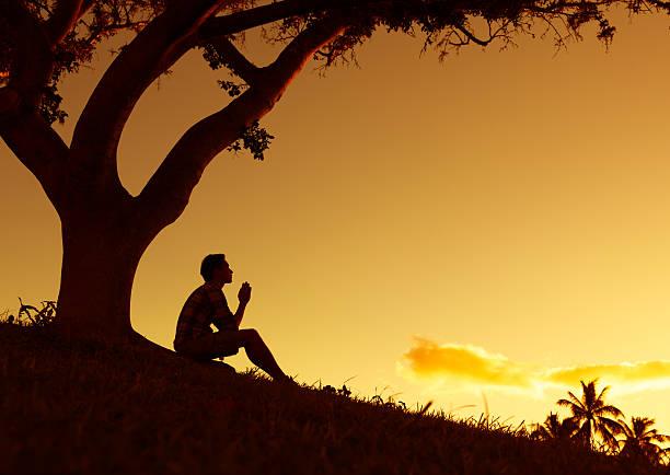 man praying - god stock photos and pictures