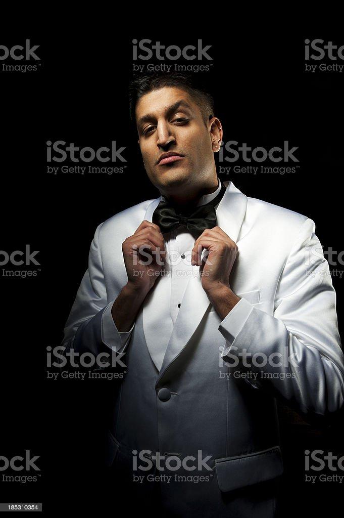 Man preening himself stock photo
