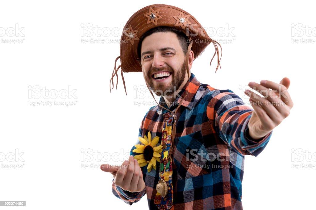 Homem preparado para a Festa Junina brasileira - foto de acervo