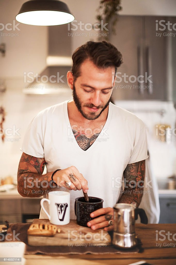 Man prepares Caffee Close Up - foto de stock