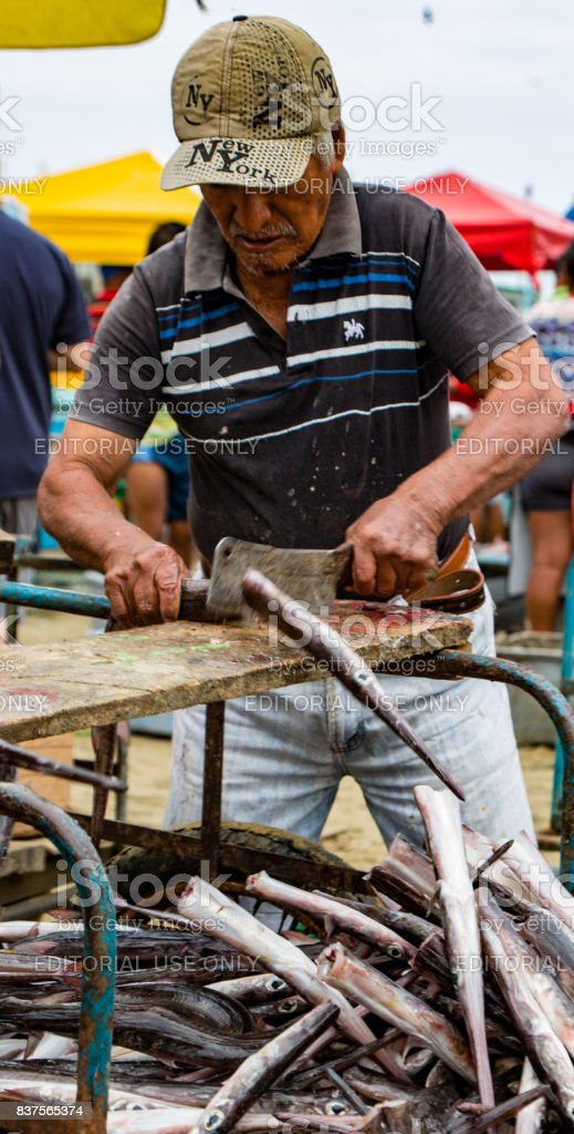 Man prepares freshly caught fish for market stock photo