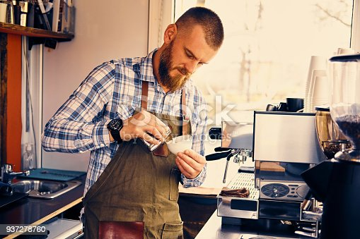 istock A man preparing cappuccino in a coffee shop. 937278760