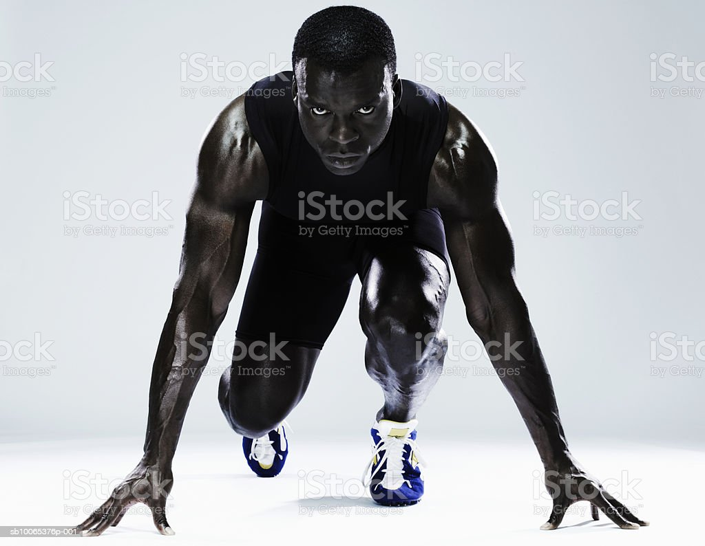 Man preparing to race, portrait, close-up royalty-free 스톡 사진