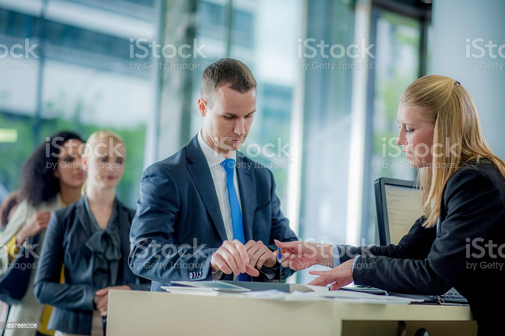 Man preparing to sign a bank contract ストックフォト