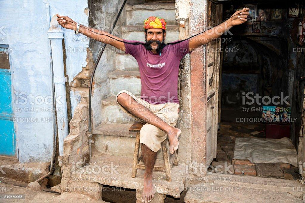 Man presents his very long mustache, Bikaner, Rajasthan, india stock photo