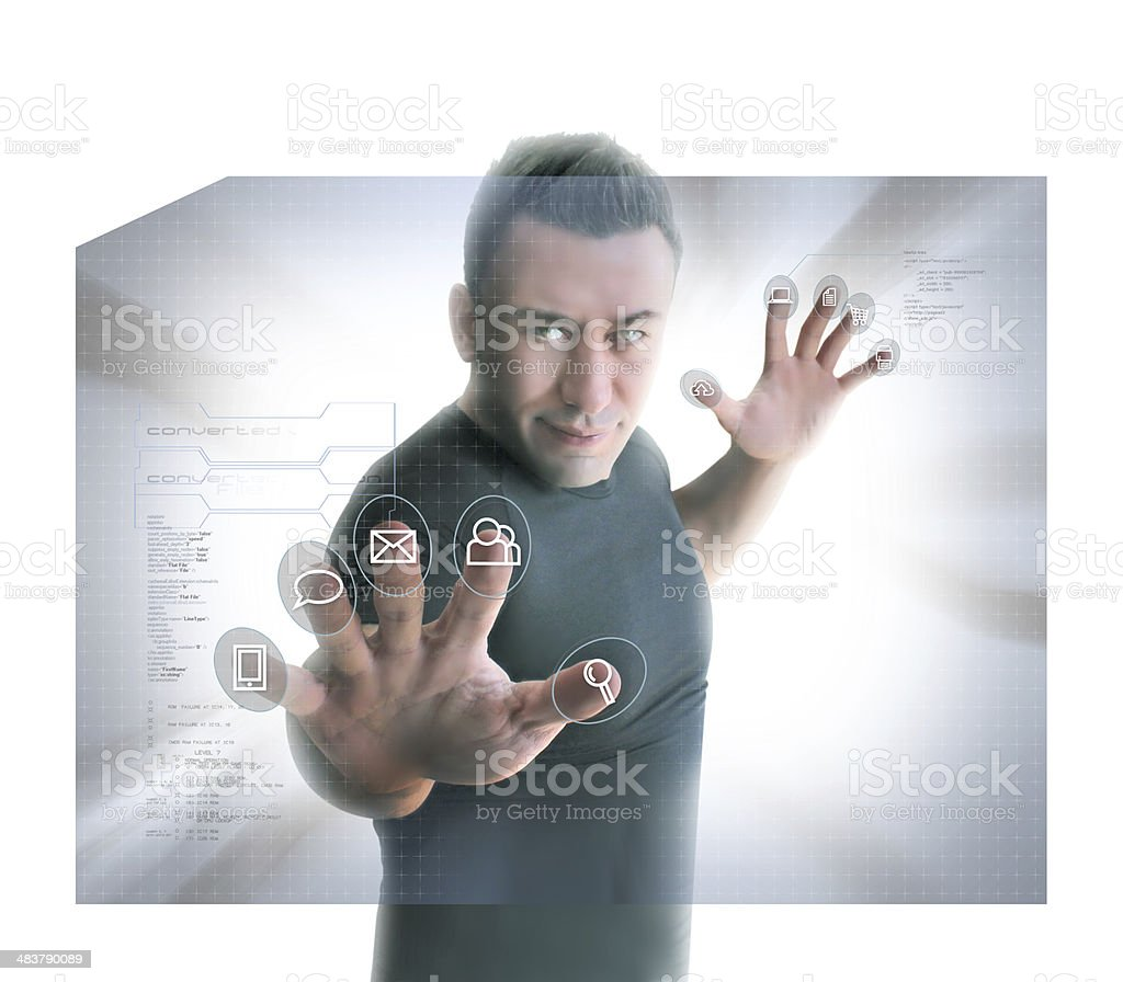 Man Pressing Interactive Buttons stock photo