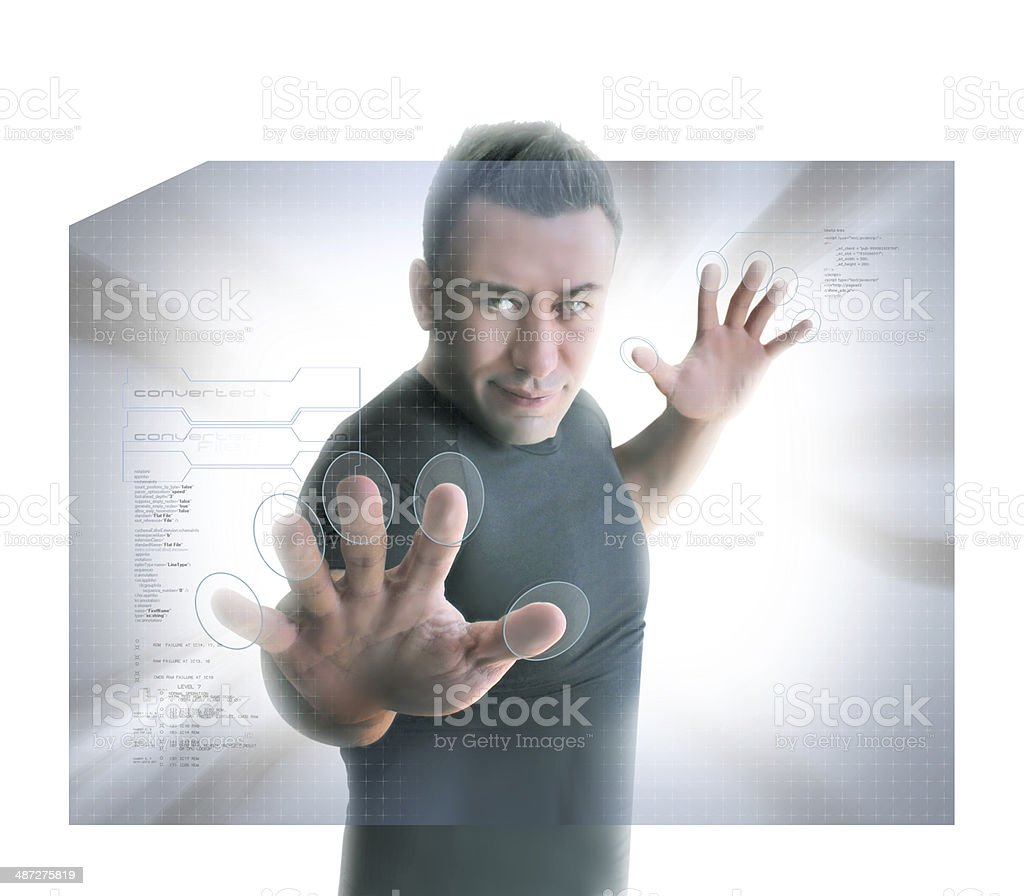 Man Pressing Virtual Buttons stock photo