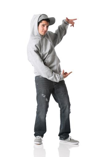 Man pretending to hold somethnig