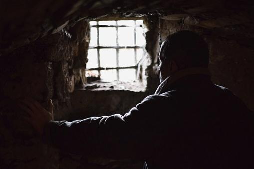 Man prisoner in the dark underground cell