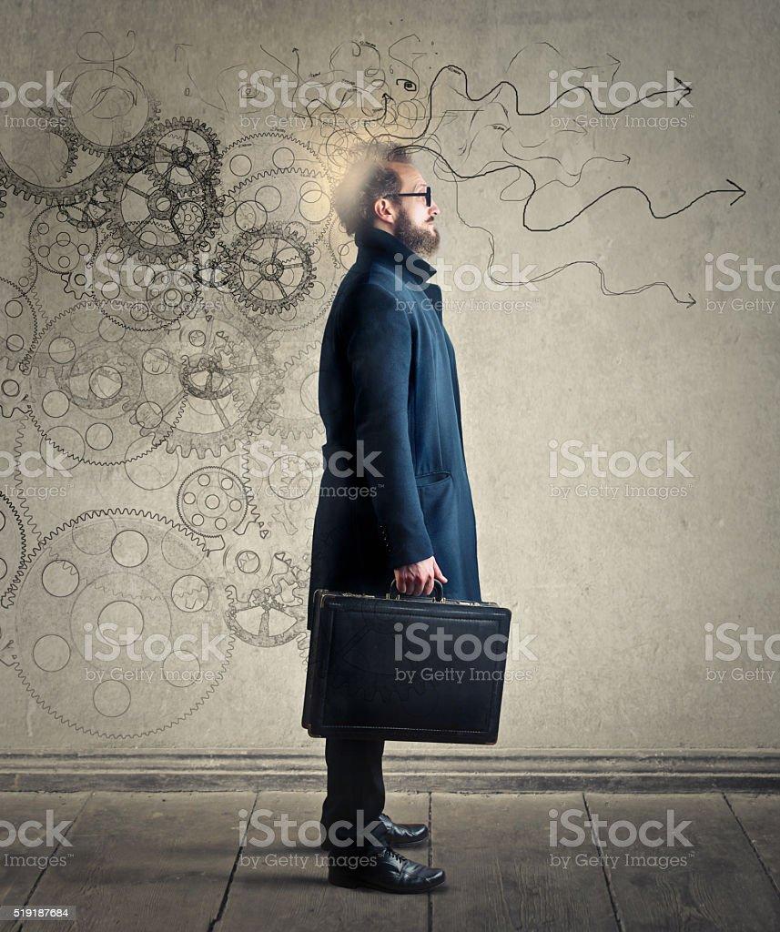 Man processing ideas stock photo