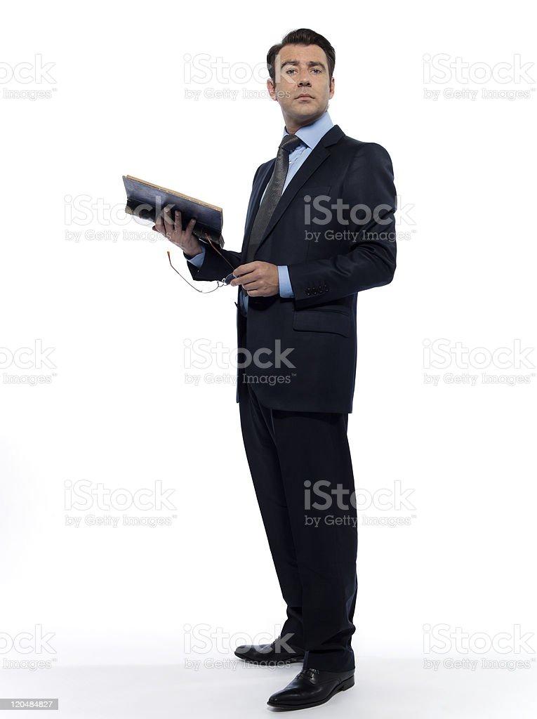 Mann liest Buch professor Unterricht – Foto