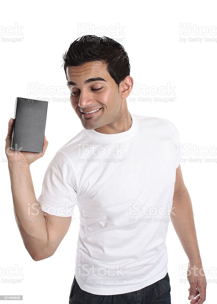 Man promoting selling a boxed product royalty-free stock photo