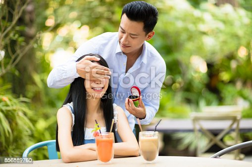 1129577106 istock photo Man proposing to girlfriend offering engagement ring in restaurant 856889760
