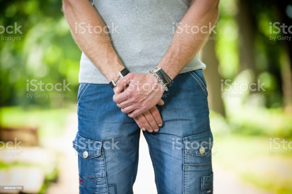 man prostate problem in a park stock photo