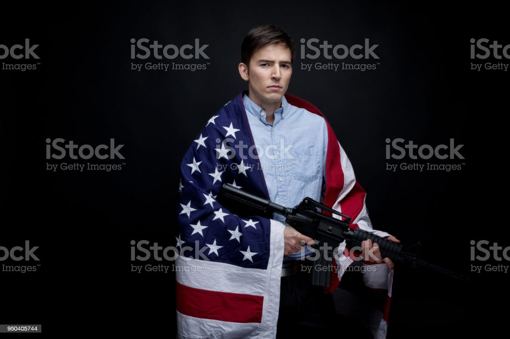 Man protecting America stock photo