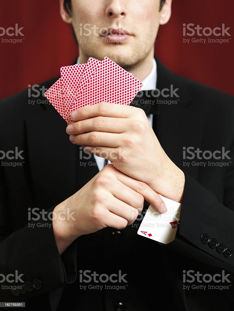 Man pulling ace stock photo