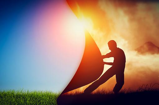 Man Pulling Curtain Of Darkness To Reveal A New Better World Change - zdjęcia stockowe i więcej obrazów Bóg
