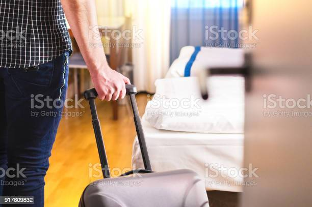 Man pulling suitcase and entering hotel room traveler going in to or picture id917609832?b=1&k=6&m=917609832&s=612x612&h=ejuro hqsde9slcy4w1wtdvp8dnfskhn1fznxwxk9pm=