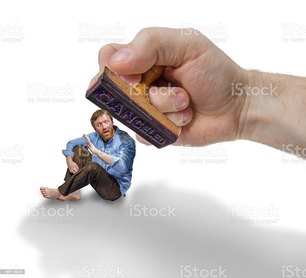 Man pursued by a stamp stock photo