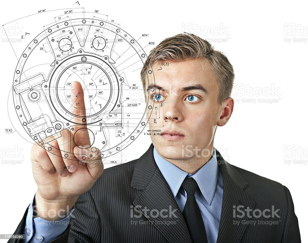 man pushes an invisible button in the visual display royalty-free stock photo