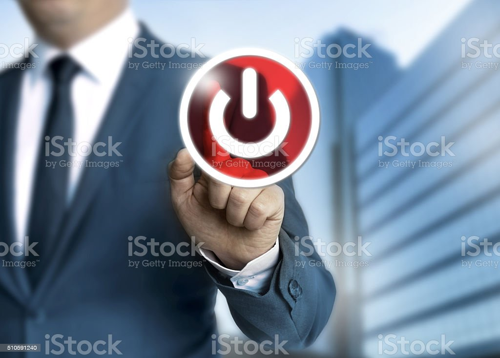 Man pushes off button concept background stock photo