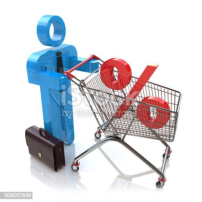 511190632istockphoto man pushing a shopping cart with percent 509052646