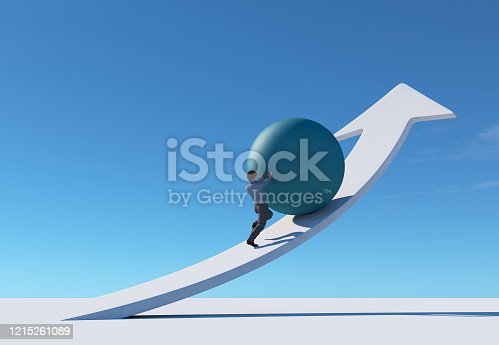 Man pushing a sphere up on an arrow . This is a 3d render illustration .