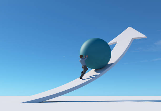 Man pushing a sphere up on an arrow . This is a 3d render illustration . stock photo